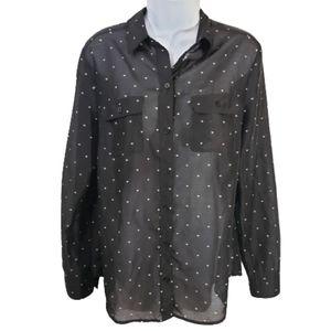 Loft button up shirt black with white hear…